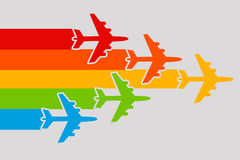 Plane rainbow. Airplanes flying forward in the colors of the rainbow Stock Photography
