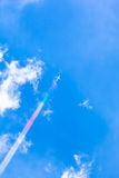 Plane Rainbow Contrail Royalty Free Stock Images