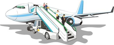 Plane with ramp. Mobile loading ramp on a airplane Stock Photos
