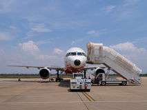 Plane Ready for Boarding. A Boeing 757 on the airport tarmac ready for boarding Stock Images