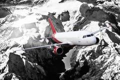 Plane red black white cloud travel transportion airplane mountains. Plane black white travel transportion airplane Stock Image