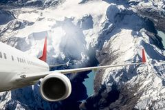 Plane red cloud travel transportion airplane mountains. Plane black white travel transportion airplane Royalty Free Stock Photos