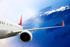 Plane red cloud travel transportion airplane mountains. Plane black white travel transportion airplane Stock Photos