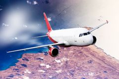 Plane red sky cloud travel transportion airplane mountains Royalty Free Stock Photography