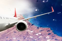 Plane red travel transportion airplane mountains. Plane black white travel transportion airplane Royalty Free Stock Image