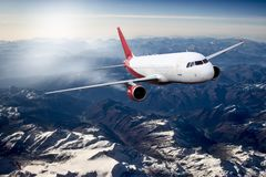 Plane red travel transportion airplane mountains. Plane black white travel transportion airplane Stock Photo