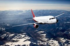 Plane red travel transportion airplane mountains. Plane black white travel transportion airplane Stock Photos