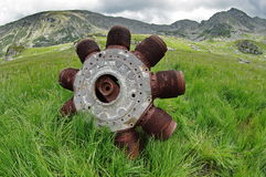 Plane remnants on a mountain Stock Image