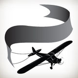 Plane ribbon in silhouette 0099 Royalty Free Stock Photos