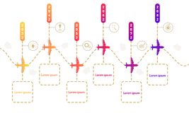 Plane roadmap timeline elements with markpoint graph think search gear target icons. vector illustration eps10. Plane roadmap timeline elements  vector royalty free illustration