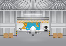 Plane robot. Robot working with plane in factory Stock Images