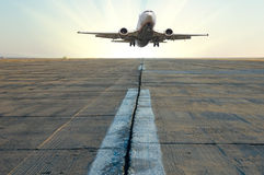 Plane on a runway Royalty Free Stock Photography