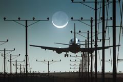 Plane runway. Plane landing night airport runway Royalty Free Stock Photography