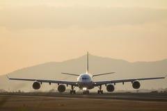 Plane on runway Royalty Free Stock Photos