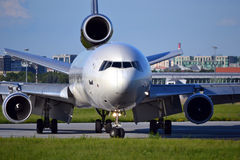 Plane. runway, airport Stock Photo