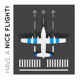 Plane on the runway at the airport. Top view Royalty Free Stock Image