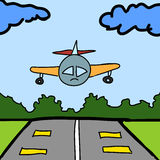 Plane and runway cartoon Royalty Free Stock Images