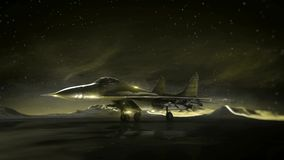 Plane on the runway in the mountains. Night sky. Transition wireframe hologram to photorealistic render. stock footage