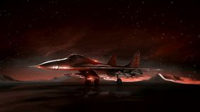 Plane on the runway in the mountains. Night sky. Transition wireframe hologram to photorealistic render. stock video