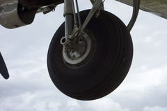 A plane's landing gear extended Royalty Free Stock Images