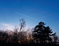Plane's track. On the blue sky during sunset Stock Photography