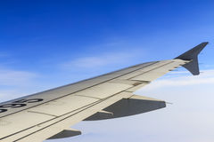 Planes wing. Airfoil aerofoil plane wing and blue sky Royalty Free Stock Photos