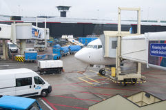 Plane in the Schiphol Airport, Amsterdam, Netherlands. Stock Photos