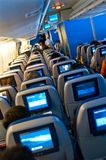 Plane seats of Boeing 747 KLM airlines royalty free stock photos