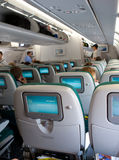 Plane seats with tv screen Royalty Free Stock Images