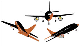 Plane Set #2. Illustrations of commercial planes royalty free illustration
