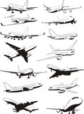 Plane set. Set of civil airplane contours Royalty Free Stock Photography