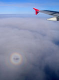 Plane shadow aureole Stock Photo