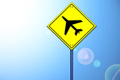 Plane shape on road sign Royalty Free Stock Photos