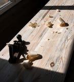 Plane, shavings, pine board.  Royalty Free Stock Photo