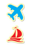 Plane and Ship Icons Royalty Free Stock Photo