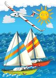 The plane and the ship - illustration for the children. The happy and colorful illustration for the children royalty free illustration