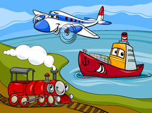 Plane ship train cartoon illustration. Cartoon Illustration of Funny Plane and Train and Ship Transport Comic Characters Group Royalty Free Stock Photography