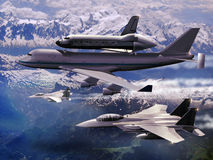 Plane and shuttle. 747 Boeing with space shuttle on its back, escorted by several fighters F15 over mountains royalty free illustration