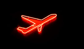 Plane sign at night Stock Image