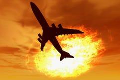 Plane silhouette. Render over sunset plasma ball fire sky Stock Photo