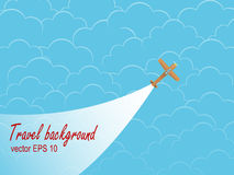 Plane silhouette against the sky with clouds. Royalty Free Stock Photo