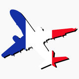 Plane silhouette with French flag Royalty Free Stock Image