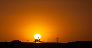Plane Silhouette Sunset Stock Photography