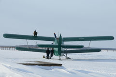 Plane with skis on the snow Stock Photography