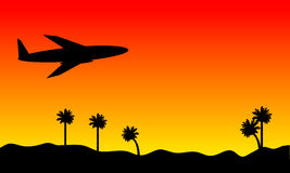 Plane in the sky. Plane in the red sky at sunset background Stock Photography