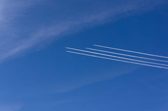 Plane in the sky. 4 aircraft in the same direction. Planes over Europe. blue sky. 4 aircraft in the same direction Stock Photography