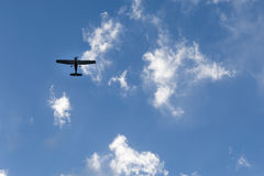 Plane in the sky. Airplane in the clear sky royalty free stock photos