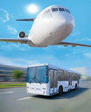 plane in sky bus going in city Royalty Free Stock Photo