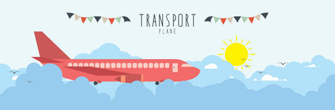 Plane in the sky, on cloud. (transportation). Vector Illustration of Plane in the sky, on cloud. (transportation Royalty Free Stock Photo