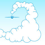 Plane in the sky in the clouds. Vector Stock Image